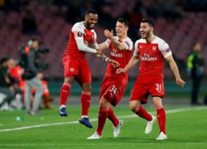 Alexandre Lacazette was on target as Arsenal won 1-0 at Napoli to book their place in the Europa League semi-finals 3-0 on aggregate.