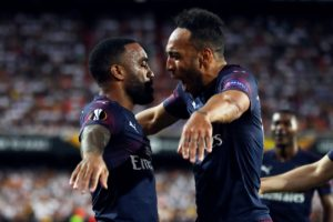 Arsenal's Unai Emery hailed his strikeforce as his side beat Valencia 4-2 to set up a Europa League final with London rivals Chelsea.
