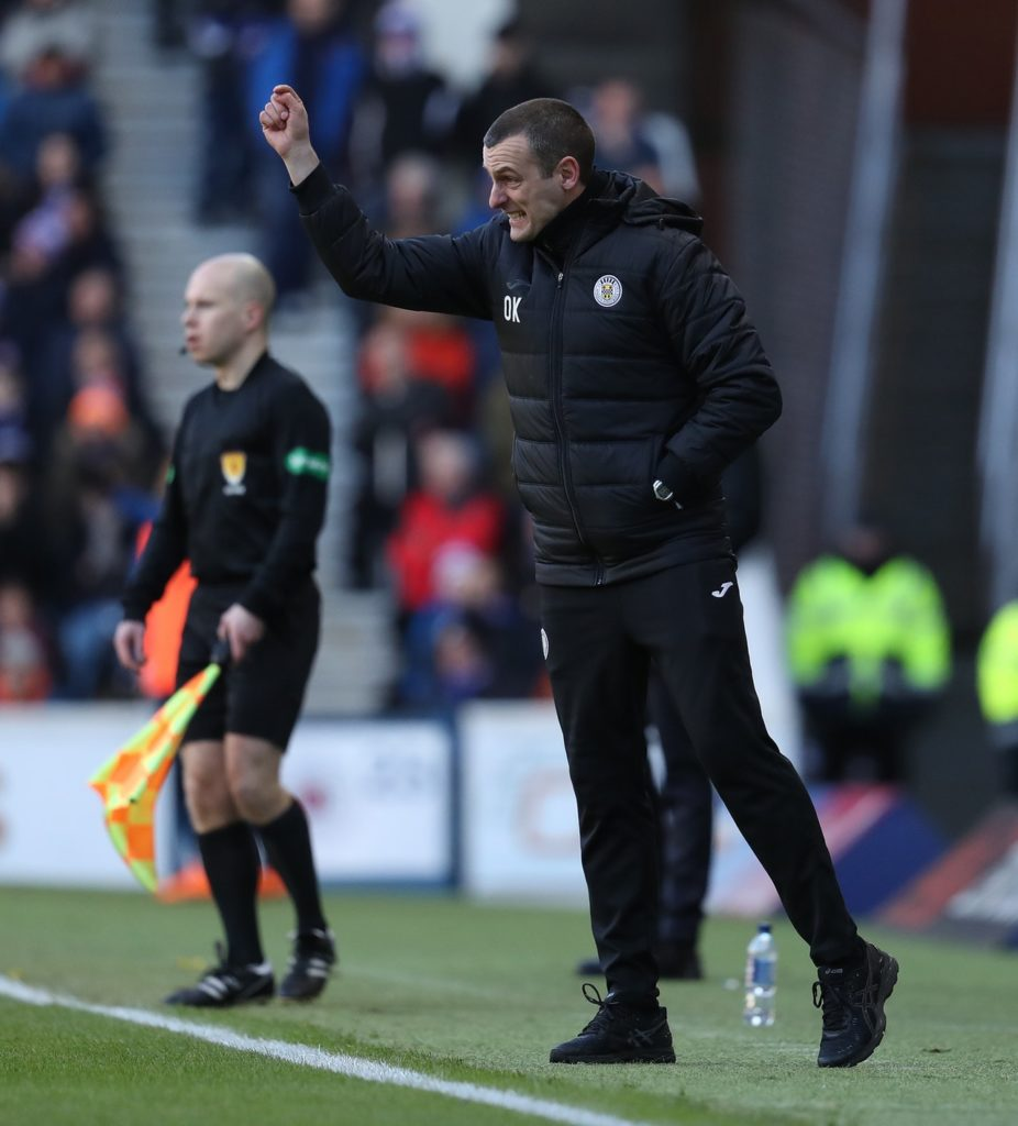 Boss Oran Kearney denied St Mirren have the advantage over Dundee United after the goalless Ladbrokes Premiership play-off final first leg at Tannadice.