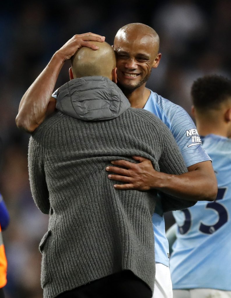 Pep Guardiola and Vincent Kompany will talk contracts at the end of the season after the defender edged Manchester City closer to the title.