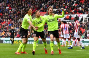 Enda Stevens' late equaliser earned promoted Sheffield United a final day 2-2 draw at Stoke.