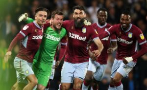Jed Steer sent Aston Villa into the Sky Bet Championship play-off final after their penalty shoot-out win at 10-man West Brom.