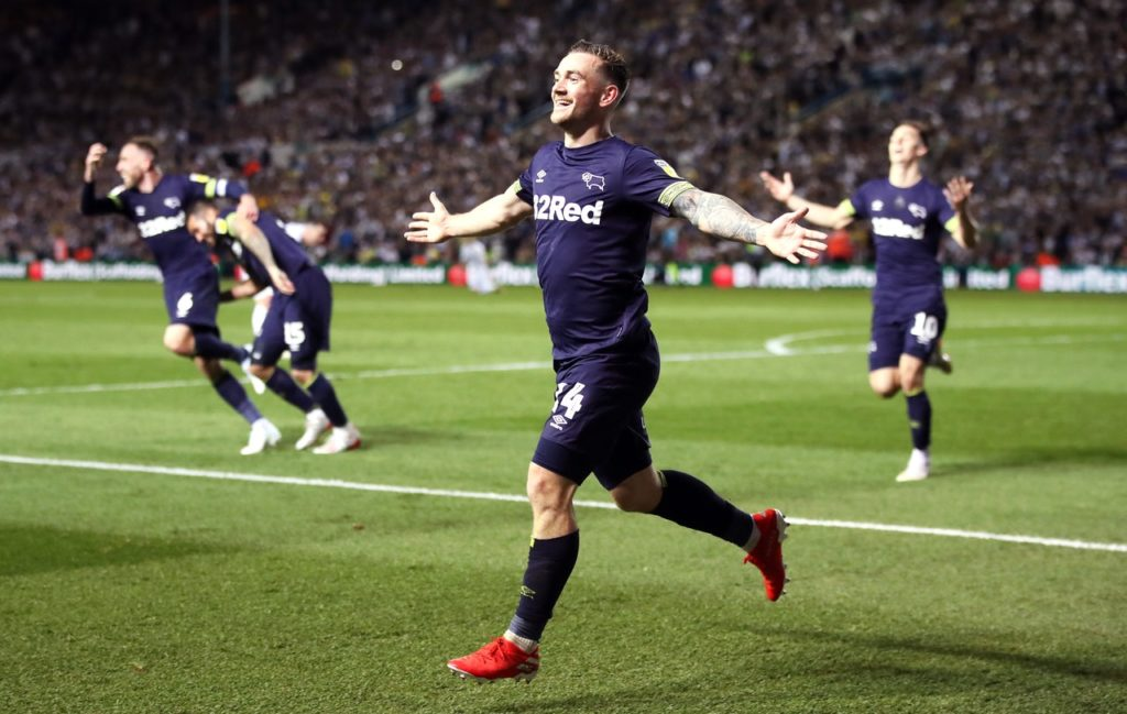 Derby substitute Jack Marriott scored twice to help fire his side into the Sky Bet Championship play-off final after a 4-2 victory at Leeds.