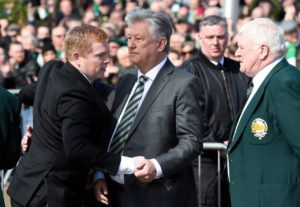 Celtic chief executive Peter Lawwell has thanked Neil Lennon for his role in guiding the Hoops to their eighth successive Ladbrokes Premiership title.