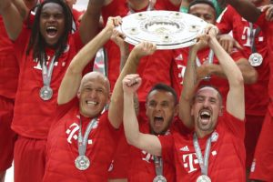 Franck Ribery and Arjen Robben felt mixed emotions as they signed off their glittering Bayern Munich careers by winning a seventh successive Bundesliga title.