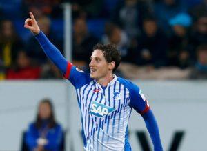 Sebastian Rudy on target for Hoffenheim.