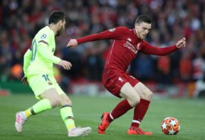 Liverpool left-back Andy Robertson hopes the calf injury picked up against Barcelona is not serious ahead of scans on Wednesday.