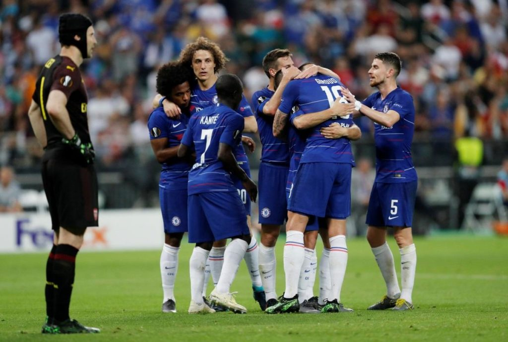 Eden Hazard scored twice as Chelsea thrashed Premier League rivals Arsenal 4-1 to win the all-English Europa League final in Baku.