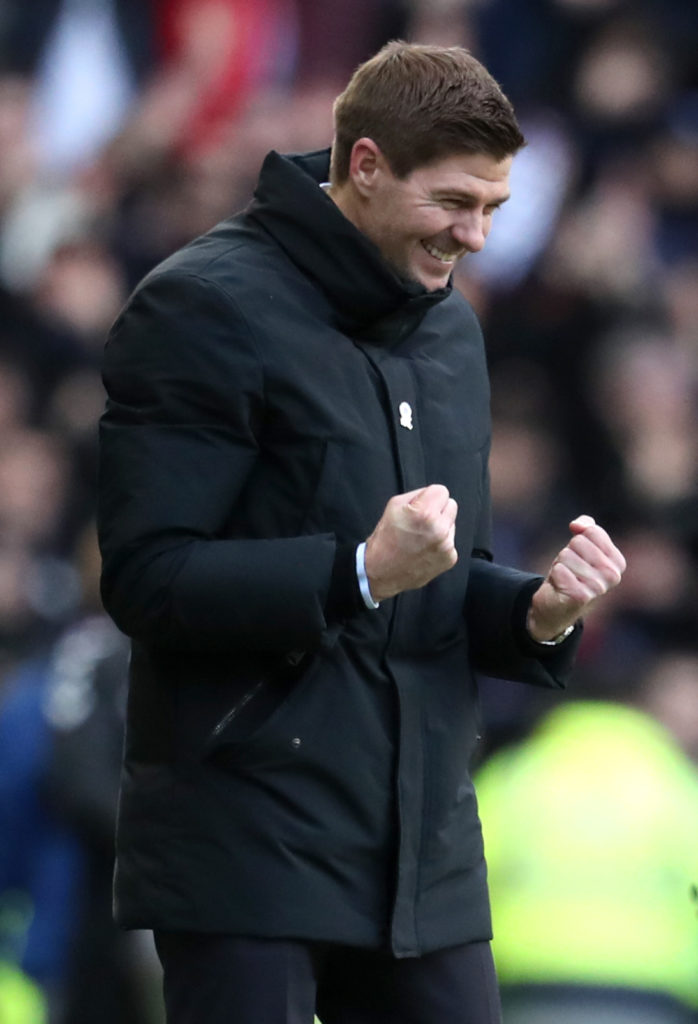Steven Gerrard has insisted he is happy at Rangers after shrugging off suggestions he could replace Frank Lampard at Derby.