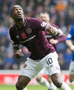 Hearts' hopes of retaining Arnaud Djoum are finally over after the midfielder joined Saudi Arabian club Al Raed.