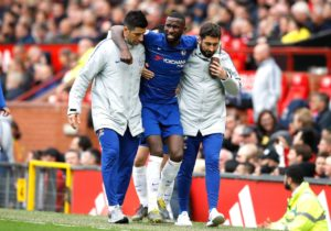 Chelsea defender Antonio Rudiger is battling back from a hip injury.
