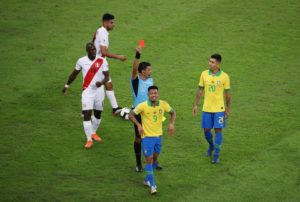 Gabriel Jesus has apologised for his petulant reaction to being sent off in Brazil's 3-1 Copa American final victory over Peru.