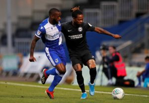 Veteran striker Glenn Murray scored in injury time to give earn Brighton a 2-1 win at Bristol Rovers in the second round of the Carabao Cup.