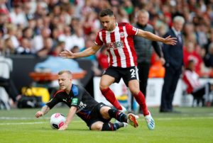 George Baldock in action for Sheffield United during 1-0 victory against Crystal Palace