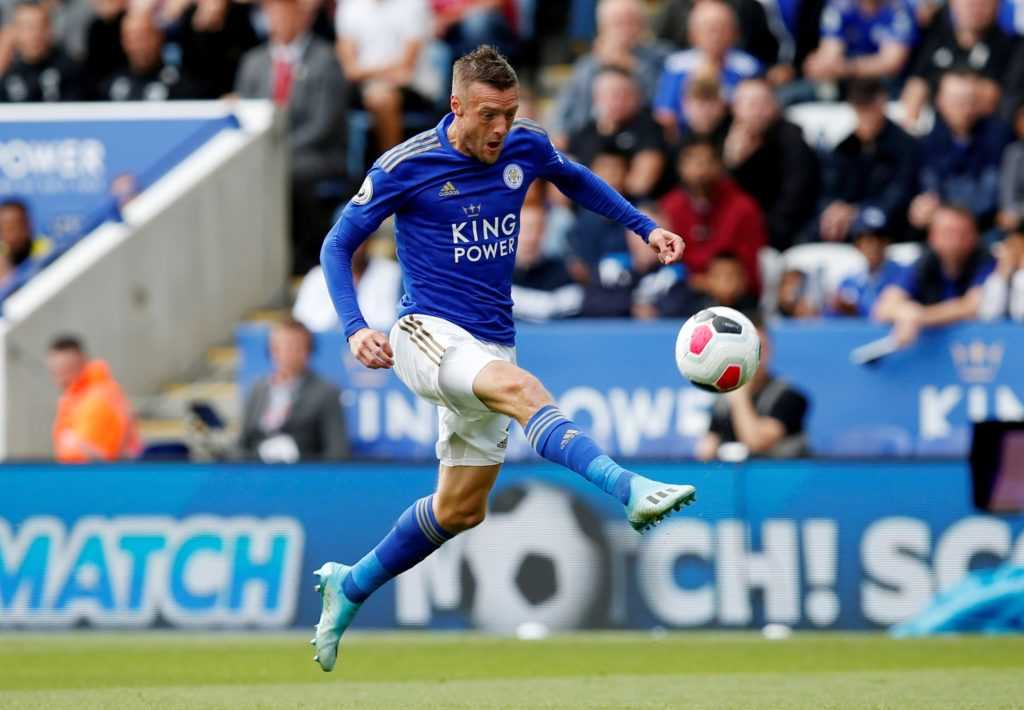 Jamie Vardy scoring Leicester's first against Bournemouth