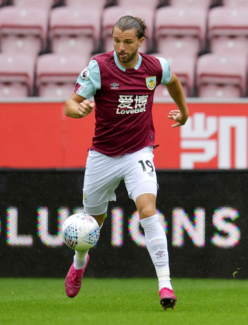 Jay Rodriguez in action for Burnley in pre-season friendly against Wigan Athletic