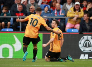 A dramatic injury-time equaliser from Diogo Jota rescued a point for 10-man Wolves as they claimed a 1-1 draw at Crystal Palace.