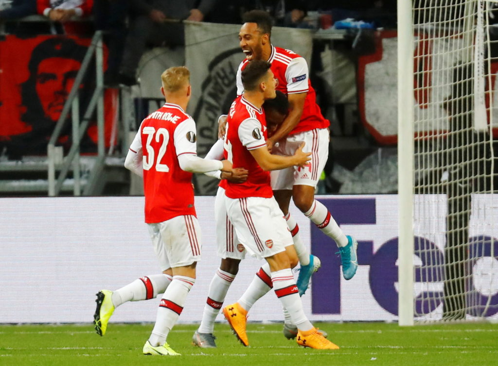 Arsenal made a flying start to their Europa League Group F campaign as they defeated ten-man Eintracht Frankfurt 3-0 at the Commerzbank-Arena.