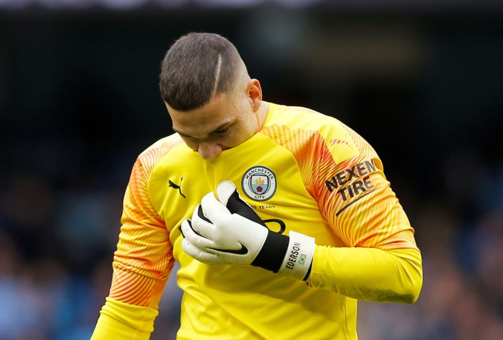 Manchester City will not panic despite falling eight points behind leaders Liverpool at the top of the Premier League table, according to goalkeeper Ederson.