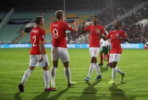 England romped to a comprehensive 6-0 victory over Bulgaria in Sofia, with Ross Barkley and Raheem Sterling both scoring twice.