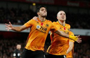 Raul Jimenez headed in a late equaliser as Wolves fought back from a goal down to earn a 1-1 draw against Arsenal at the Emirates Stadium.