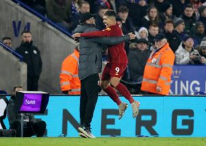 Roberto Firmino celebrates scoring for Liverpool