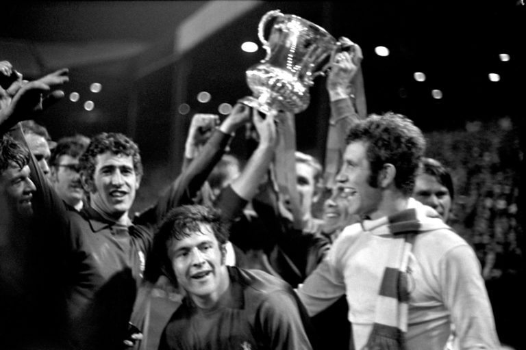 Peter Bonetti and his Chelsea team-mates celebrate their FA Cup final victory over Leeds