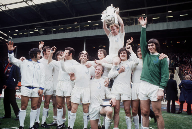 Leeds celebrate winning the FA Cup after victory over Arsenal