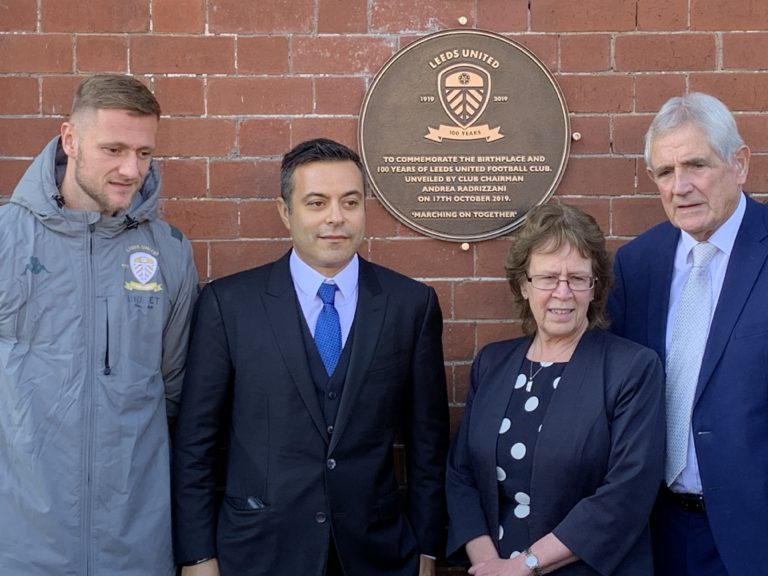 (From left to right) Leeds captain Liam Cooper, Leeds chairman Andrea Radrizzani, the leader of Leeds City Council Cllr Judith Blake and former Leeds defender Norman Hunter during the 100 years plaque unveiling at Salem Chapel, Leeds