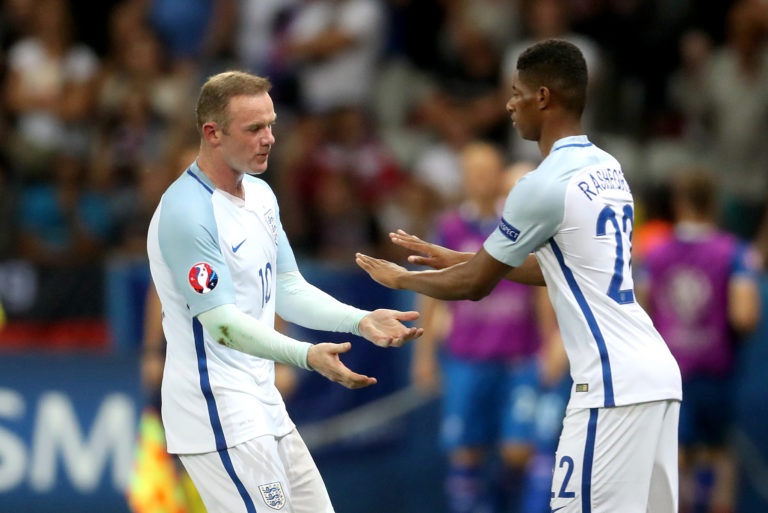 Marcus Rashford played with Wayne Rooney for club and country