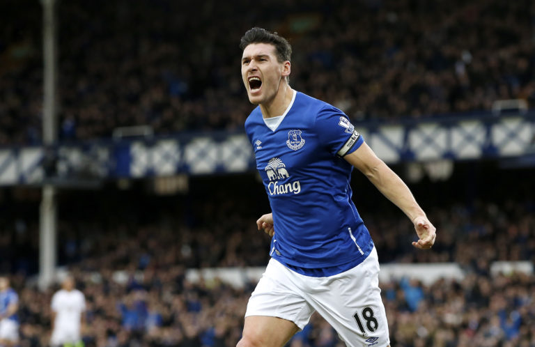 Everton's Gareth Barry celebrates scoring his side's first goal during the Barclays Premier League match at Goodison Park, Everton