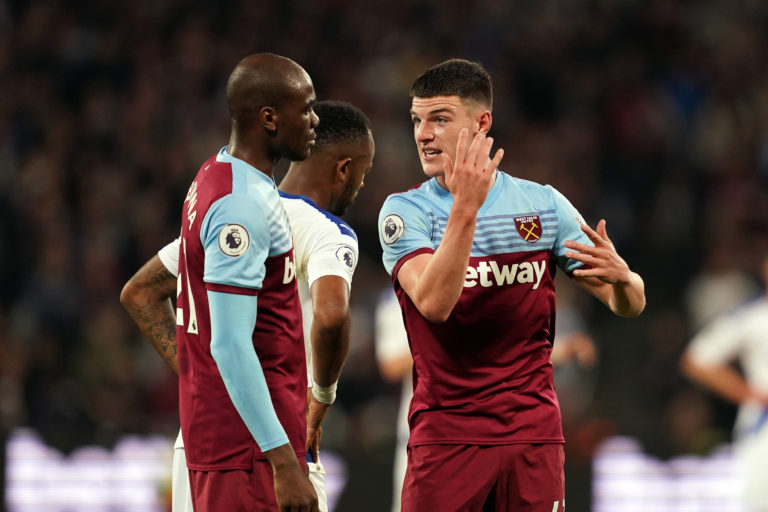 Declan Rice, right, says he is missing his West Ham team-mates (John Walton/PA)