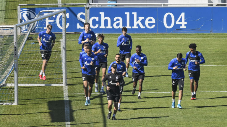 Players from Bundesliga side Schalke take part in a training session last Thursday