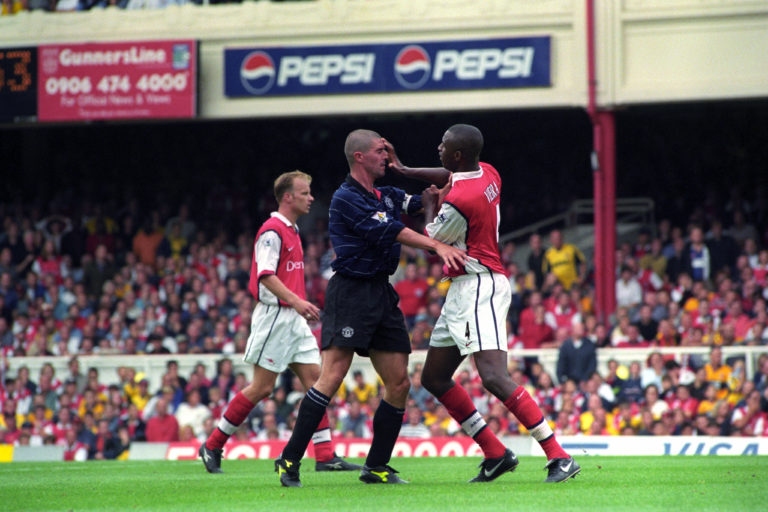 Roy Keane clashes with Patrick Vieira as Manchester United and Arsenal battled for domestic supremacy