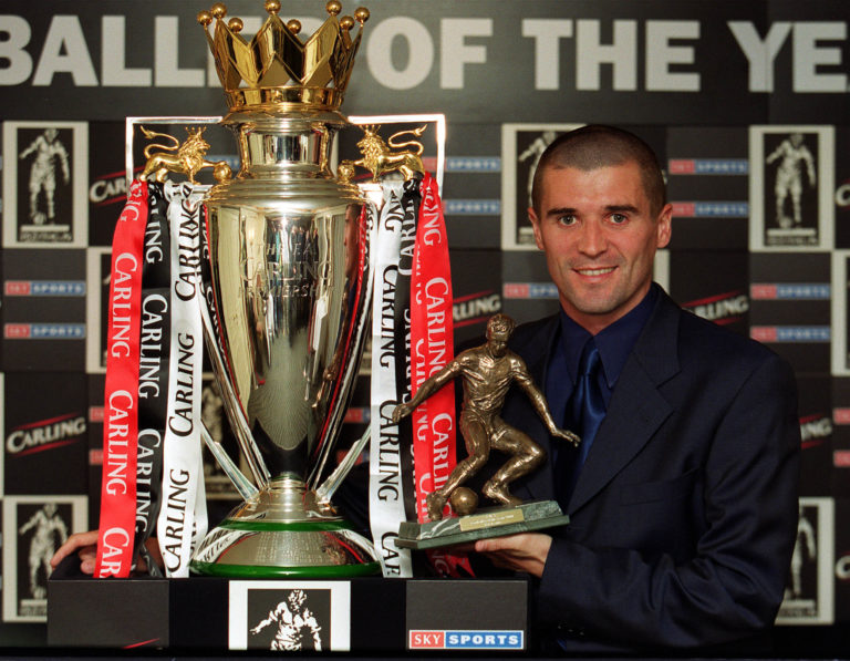 Roy Keane holds the the Football Writers' Association player of the year award