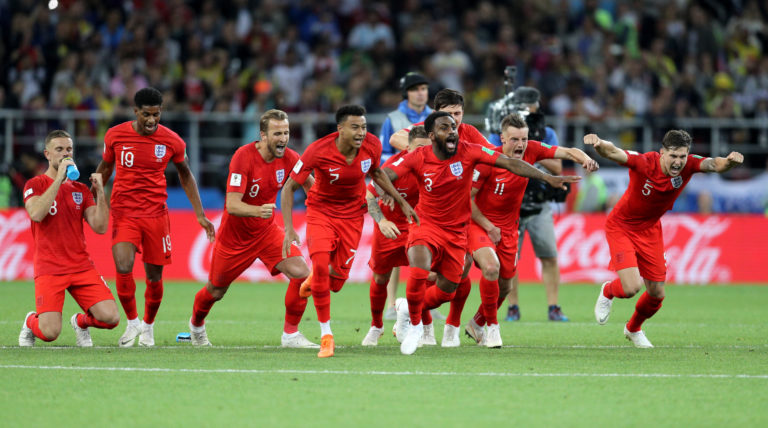 England celebrate their World Cup penalty shoot-out victory against Colombia