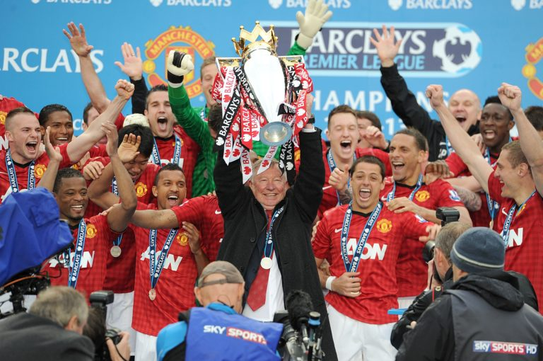 Sir Alex Ferguson lifted the trophy in his final season as manager
