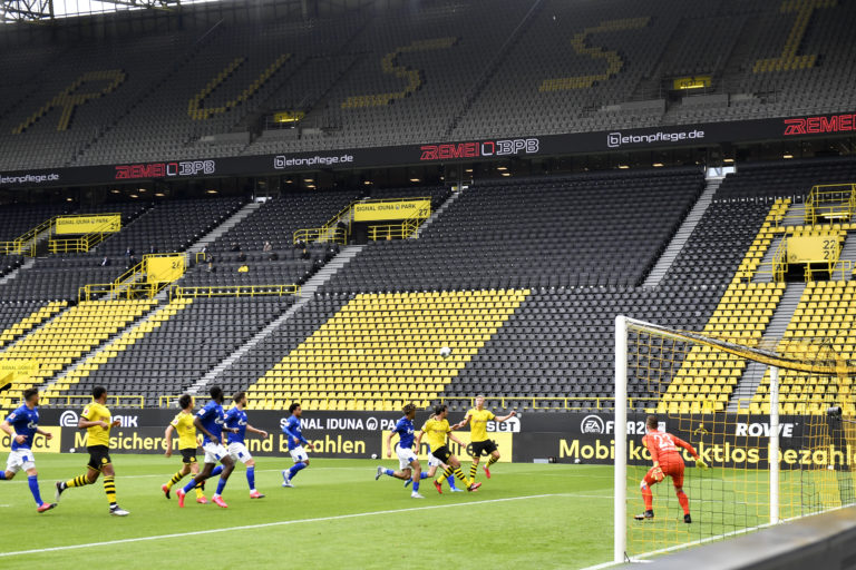 Empty stands in Dortmund as the Bundesliga resumes