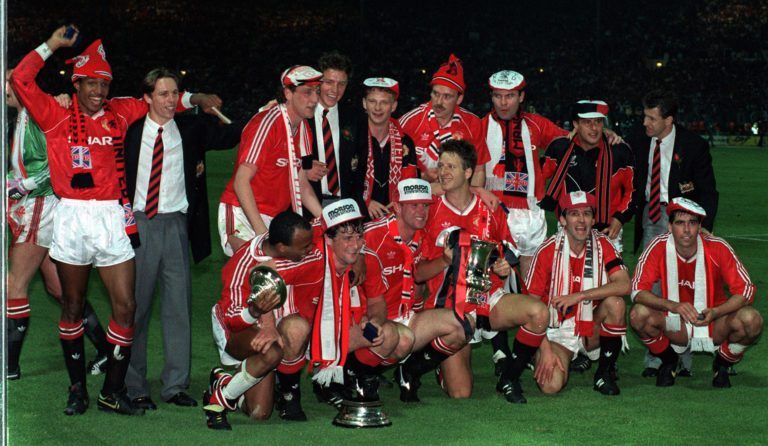 Manchester United celebrate winning the FA Cup at Wembley