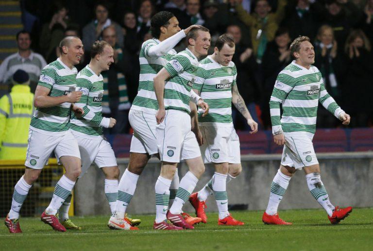 Virgil Van Dijk congratulates Liam Henderson on his goal