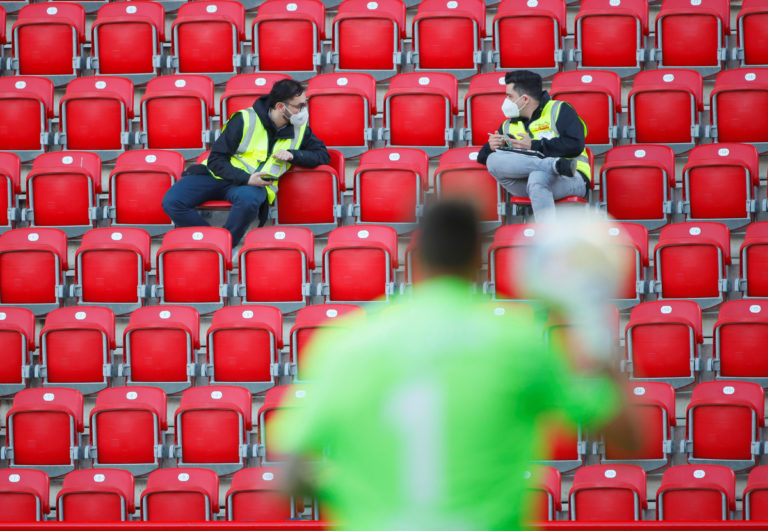 Stewards in the stands during the Bundesliga match between Union Berlin and Bayern Munich