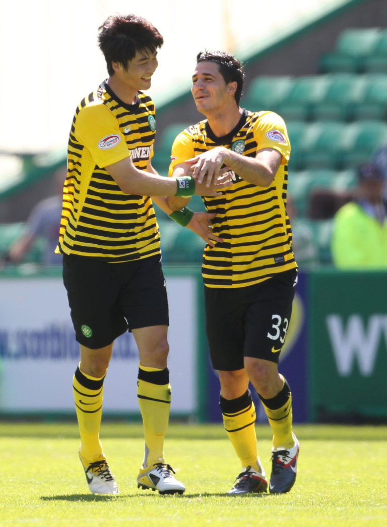 Ki is congratulated by Beram Kayal after netting the second