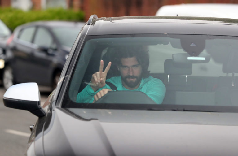 Alisson Becker was among the players back at Liverpool training