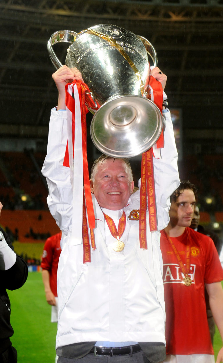 Sir Alex Ferguson lifts the Champions League trophy in Moscow