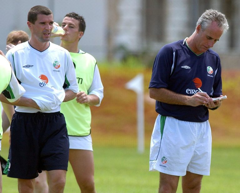 Mick McCarthy and Roy Keane during a World Cup training session in Saipan