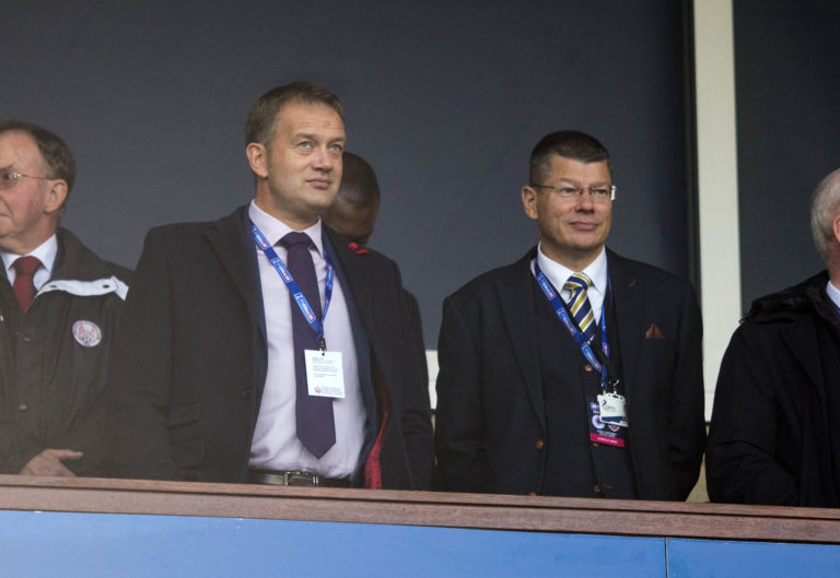Scottish FA chief executive Ian Maxwell, left, is hopeful of football returning in August