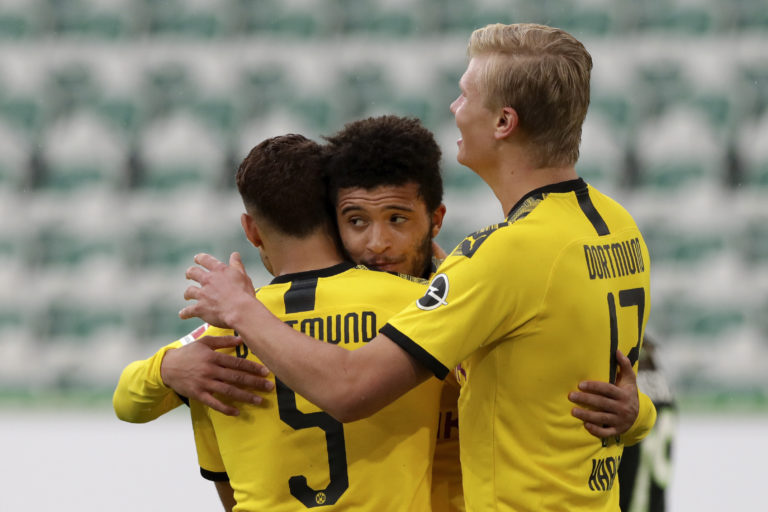 Jadon Sancho, centre, is pushing for a start against Bayern Munich