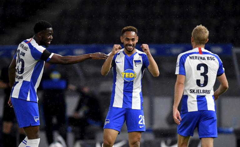 Matheus Cunha scoring Hertha's third goal against Union Berlin
