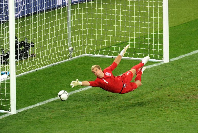 Joe Hart in action for England at Euro 2012