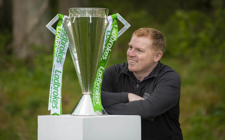 Neil Lennon with the Scottish Premiership trophy